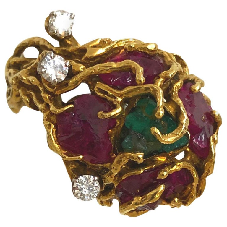 Rough-Cut Emerald and Ruby Nugget Statement Ring, 1970s For Sale