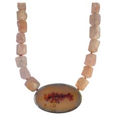 Rough Cut Morganite Necklace with an Agate Clasp