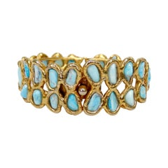 Rough-Cut Turquoise Gold Cuff