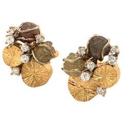 Rough Diamond and Brilliant Earrings in 18 Karat Yellow Gold