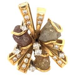 Rough Diamond and Brilliant Pendant in 18 Karat Gold