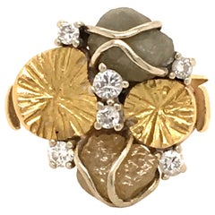 Rough Diamond and Brilliant Ring in 18 Karat Gold