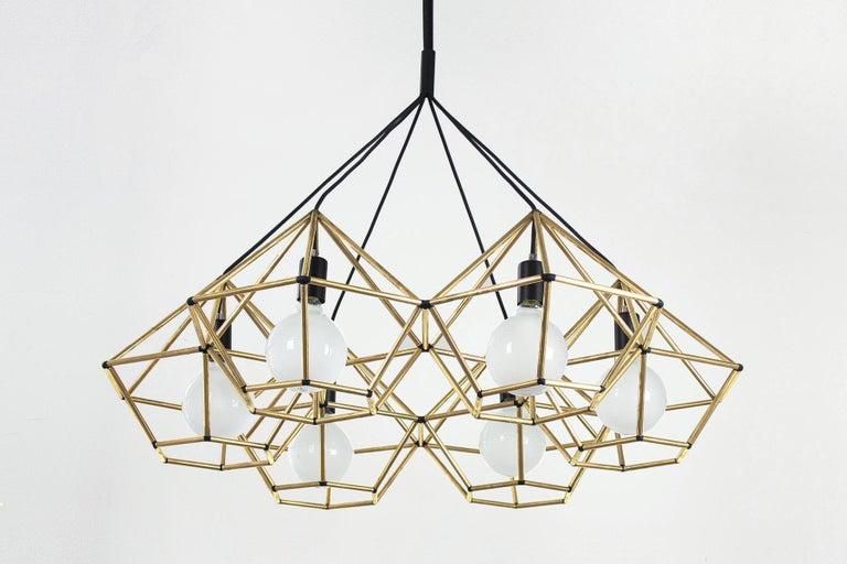 Australian Rough Diamond Chandelier, Modern, Black Tube, Geometric, Pendant Light For Sale
