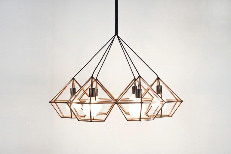 Rough Diamond Chandelier, Modern, Black Tube, Geometric, Pendant Light In New Condition For Sale In Broadmeadows, Victoria