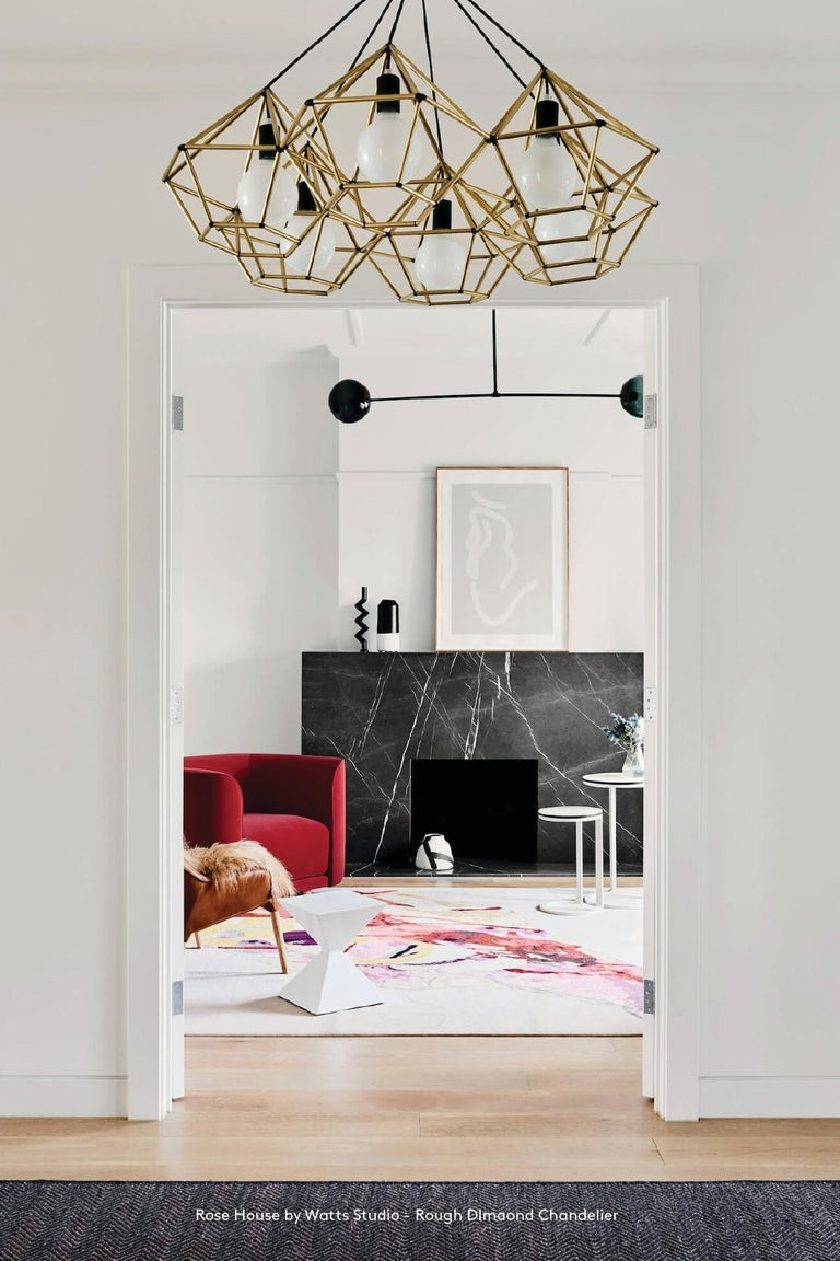 Contemporary Rough Diamond Chandelier, Modern, Black Tube, Geometric, Pendant Light For Sale