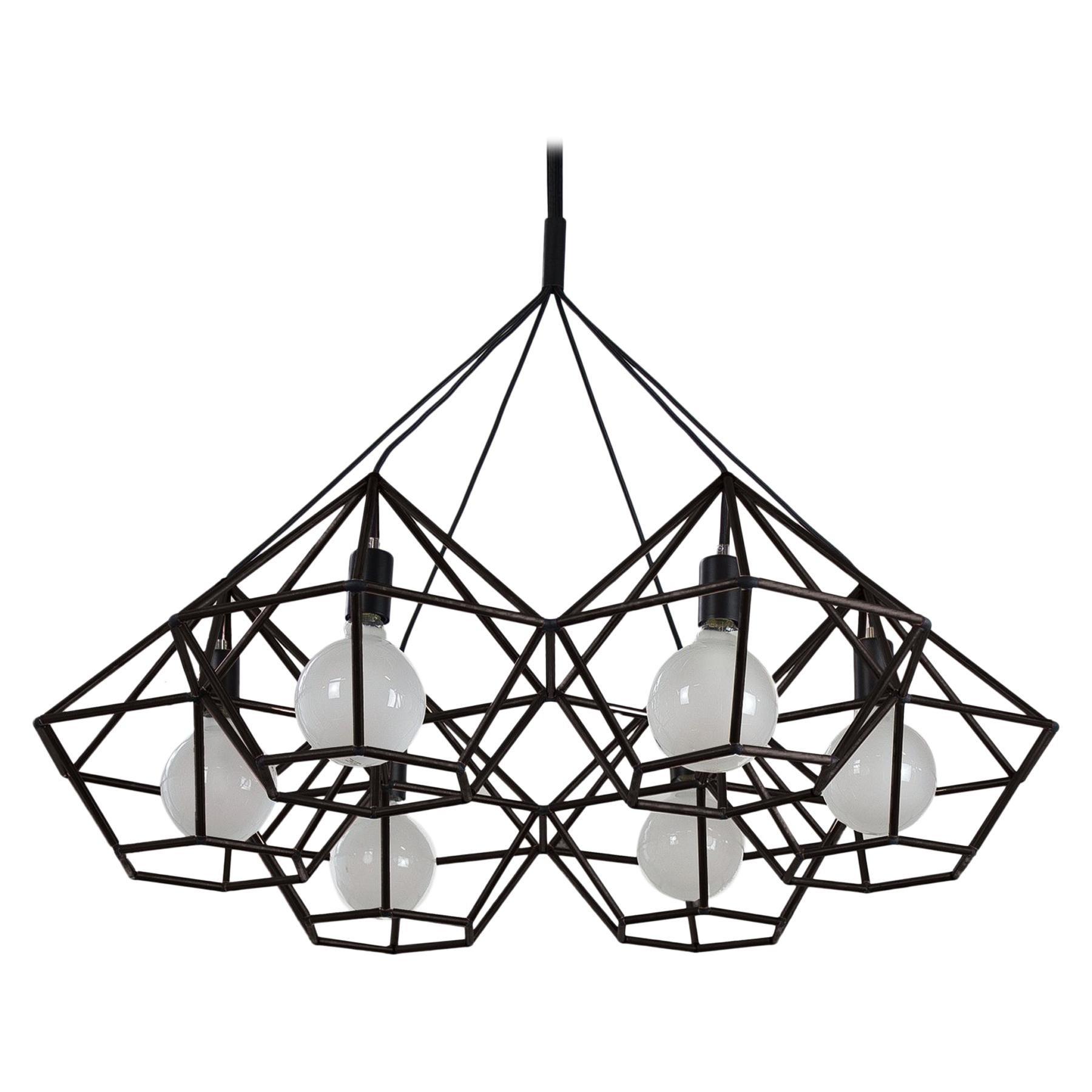 Rough Diamond Chandelier Modern Black Tube Geometric Pendant