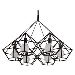 Rough Diamond Chandelier, Modern, Black Tube, Geometric, Pendant Light