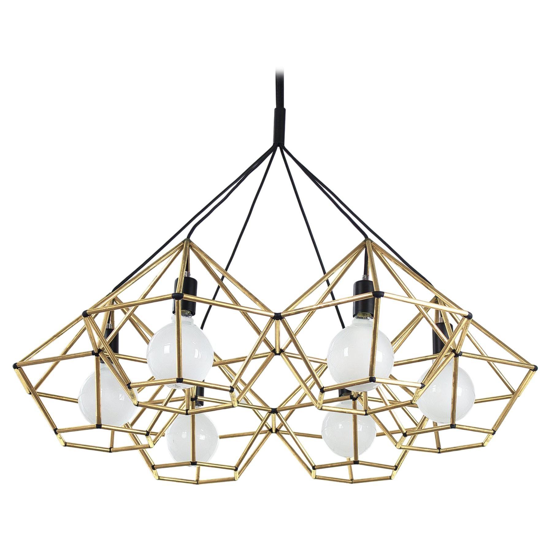 Rough Diamond Chandelier, Modern, Brass Tube, Geometric, Pendant Light