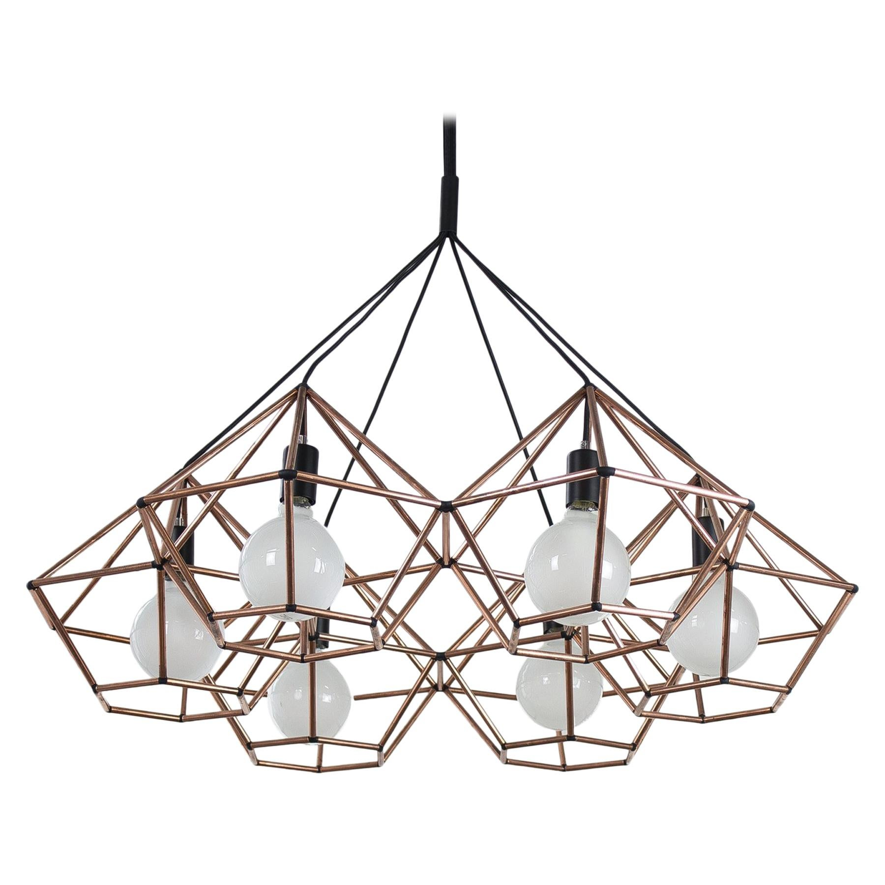 Rough Diamond Chandelier, Modern, Copper Tube, Geometric, Pendant Light
