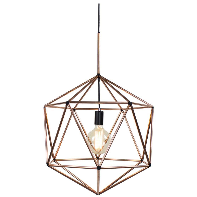 Rough Diamond Globe, Copper Wire Frame Geometric Pendant Light