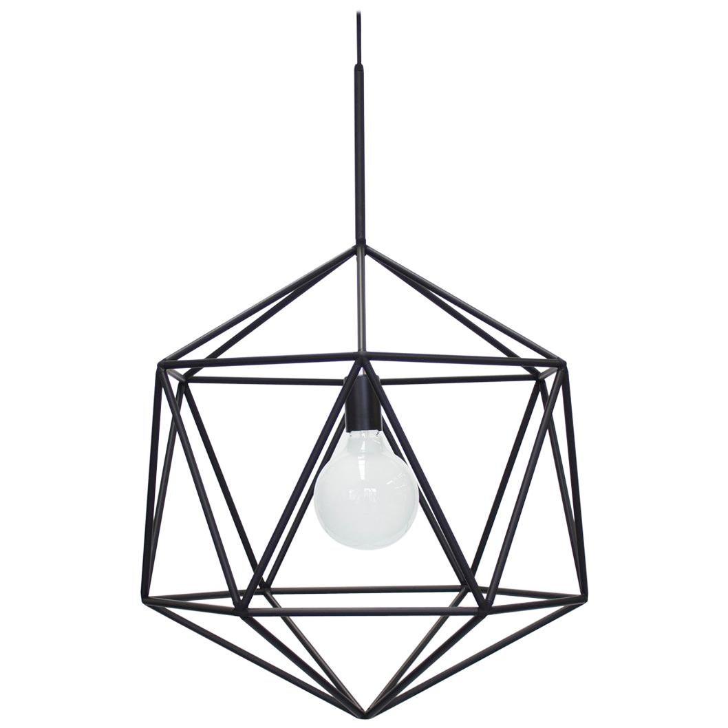 Rough Diamond Globe, Matte Black Wire Frame Geometric Pendant Light