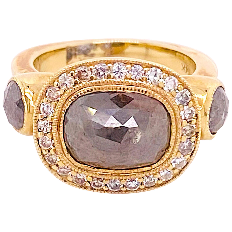 Rough Diamond Halo Engagement Ring, 3 Carat Diamonds Cushion Shaped, Halo