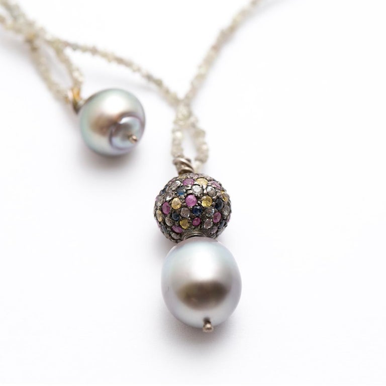Rough Diamond Multicolored Sapphire Tahitian Pearl Long ...Unpolished Sapphire Necklace