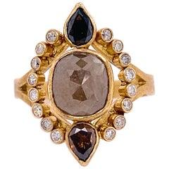 Rough Diamond Ring, 14 Karat Gold Five Star Jewelry Original Cognac Design