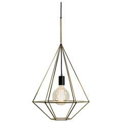 Rough Diamond Type A, Brass Wire Frame Geometric Pendant Light