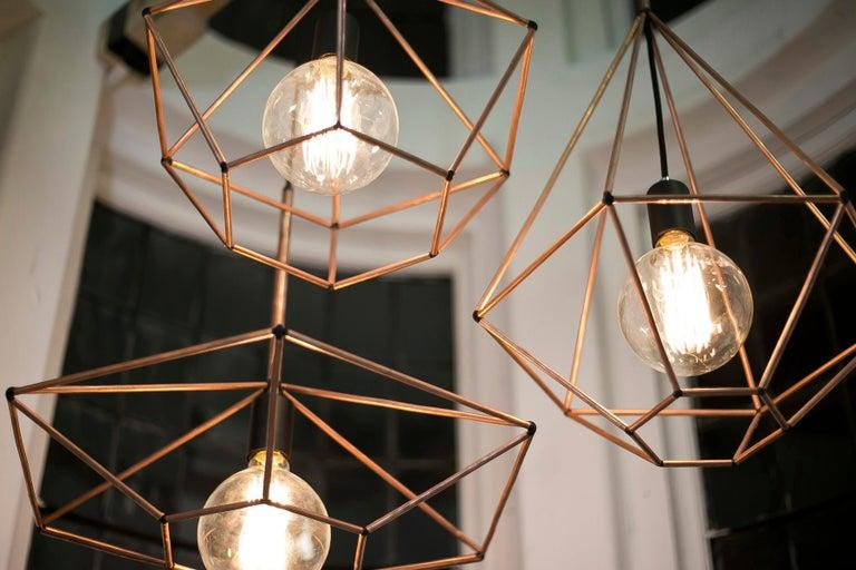 Modern Rough Diamond, Type A, Copper Wire Frame Geometric Pendant Light For Sale