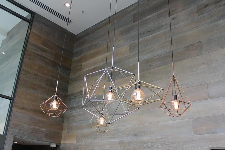 Australian Rough Diamond, Type A, Copper Wire Frame Geometric Pendant Light For Sale