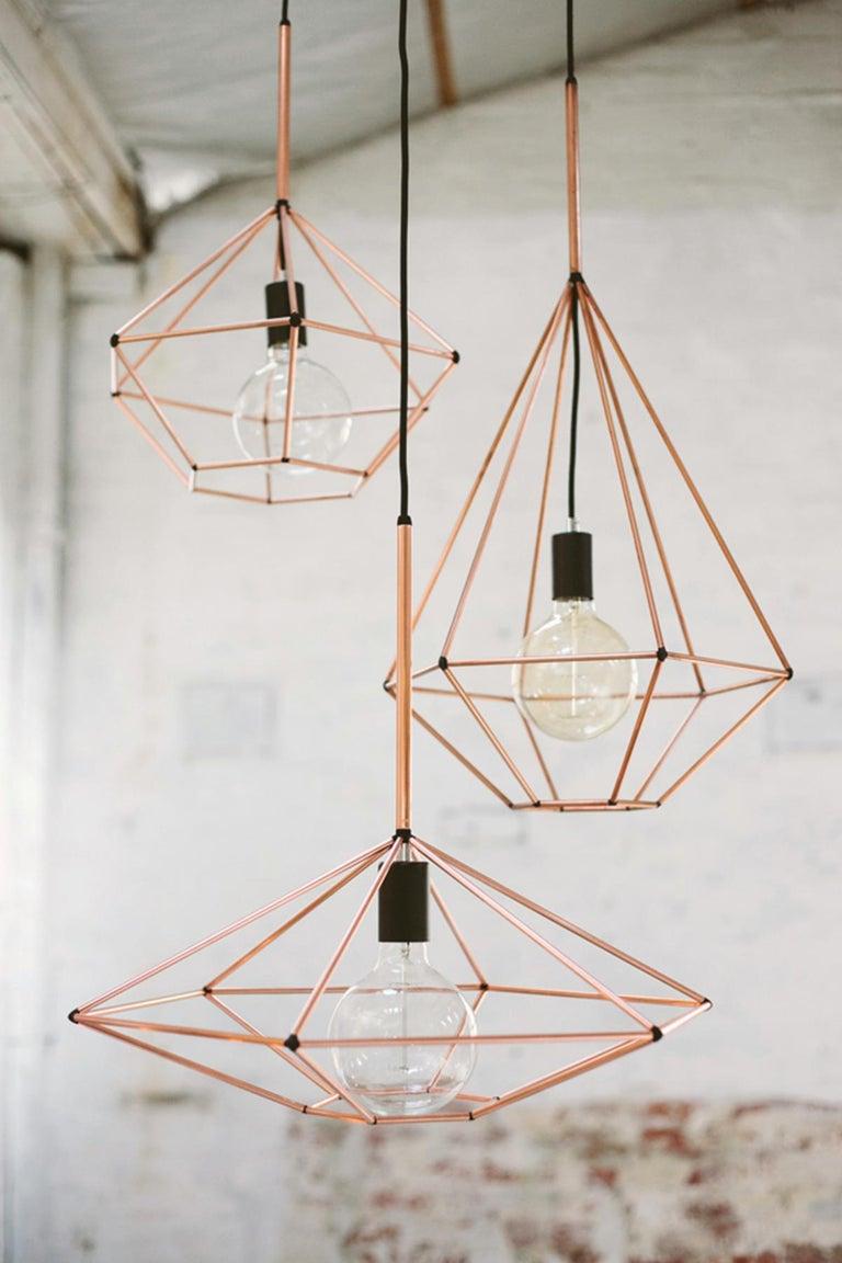 Contemporary Rough Diamond, Type A, Copper Wire Frame Geometric Pendant Light For Sale