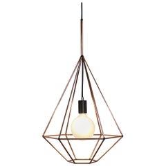 Rough Diamond, Type A, Copper Wire Frame Geometric Pendant Light