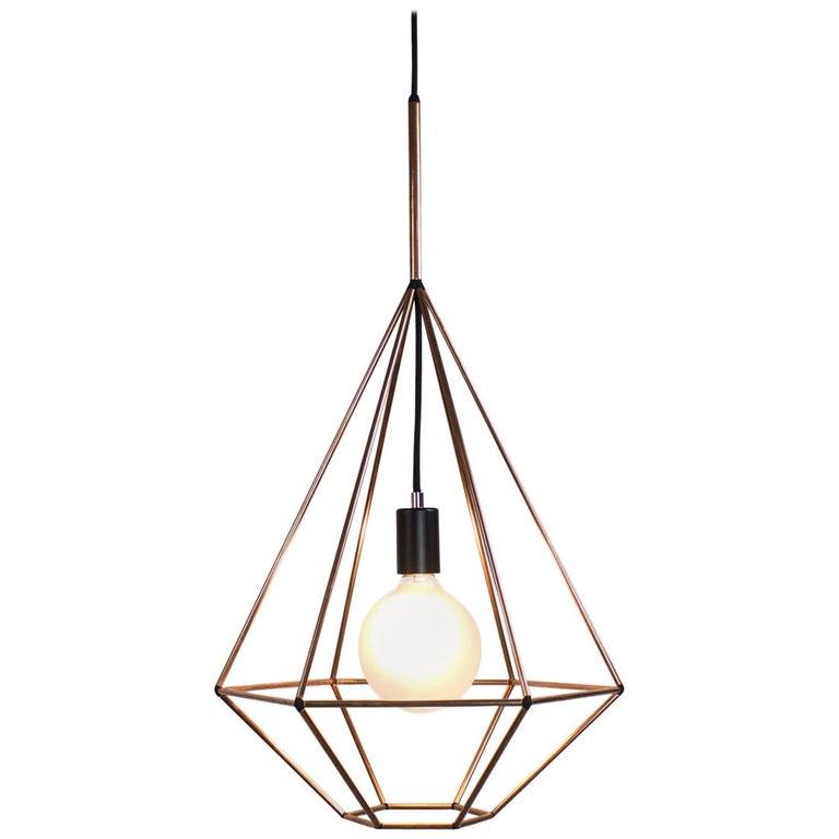 Rough Diamond, Type A, Copper Wire Frame Geometric Pendant Light For Sale