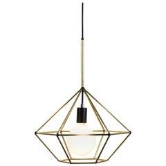 Rough Diamond, Type B, Brass Wire Frame Geometric Pendant Light