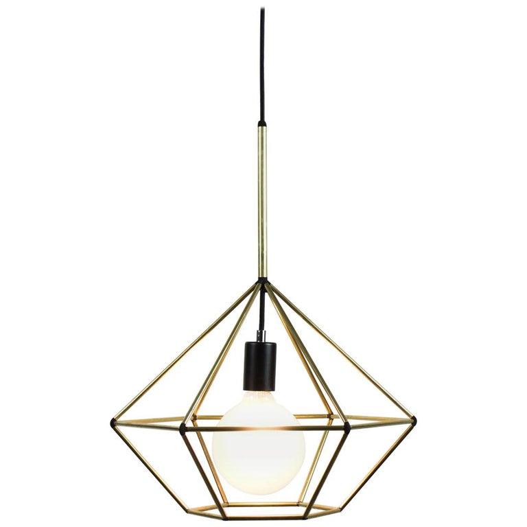 Rough Diamond, Type B, Brass Wire Frame Geometric Pendant ...
