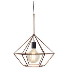 Rough Diamond Type B, Copper Wire Frame Geometric Pendant Light