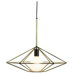 Rough Diamond, Type C Brass Wire Frame Geometric Pendant Light