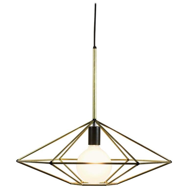 Rough Diamond, Type C Brass Wire Frame Geometric Pendant Light For Sale