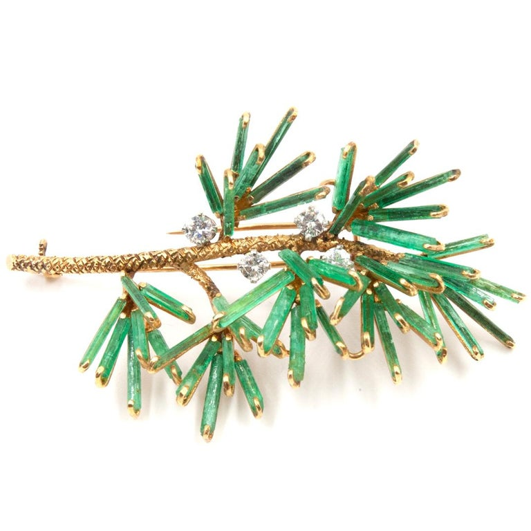 Round Cut Rough Emerald and Diamond Floral Brooch 18 Karat Yellow Gold For Sale