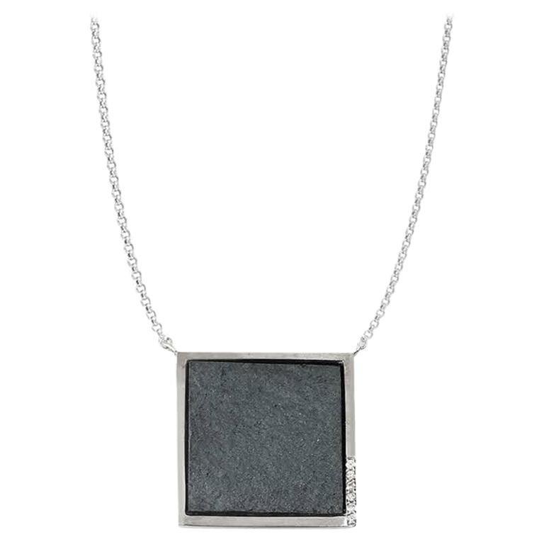 Diamond Pave' in White Gold on Rough Hematite Square Pendant