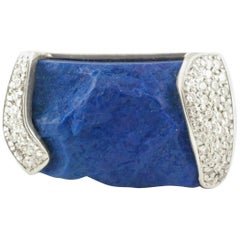 Rough Lapis and Pave Diamonds Statement Ring Stylish Western Look in Silver