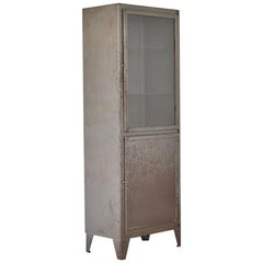 Rough Patinated Industrial Vitrine Cabinet, France, 1950s