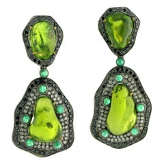Rough Peridot, Emerald and Diamond Earring in Gold and Silver