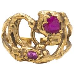 Rough Rubies English Handmade 18 Karat Yellow Gold Ring