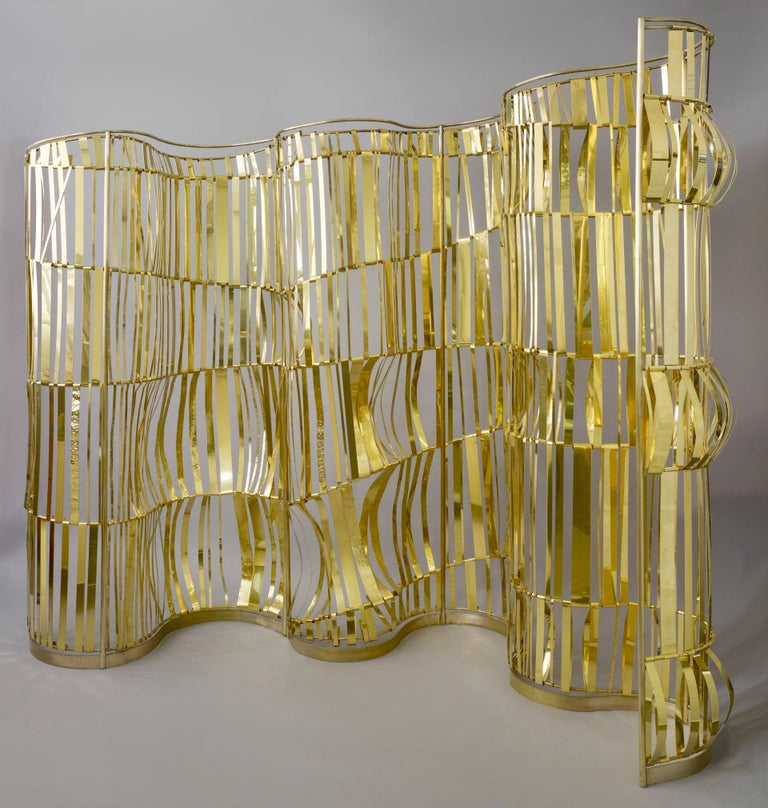 Rough Sea Screen, Room Divider by Artist Taher Chemirik, 2012 In Excellent Condition For Sale In Miami, FL