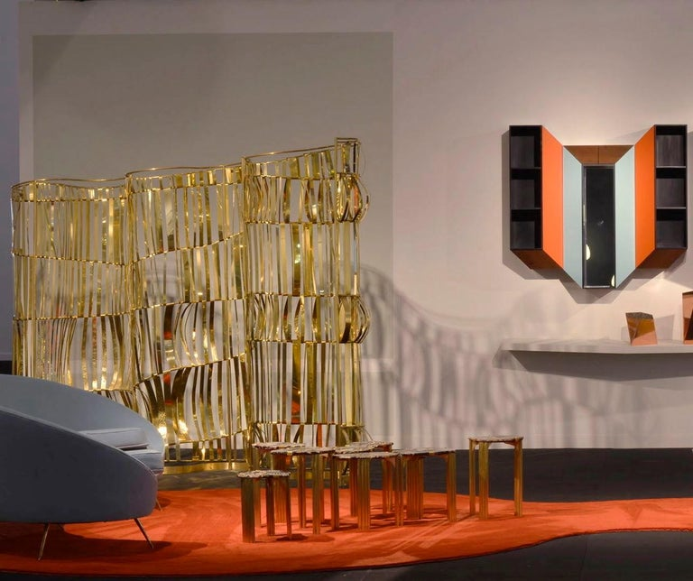 Brass Rough Sea Screen, Room Divider by Artist Taher Chemirik, 2012 For Sale