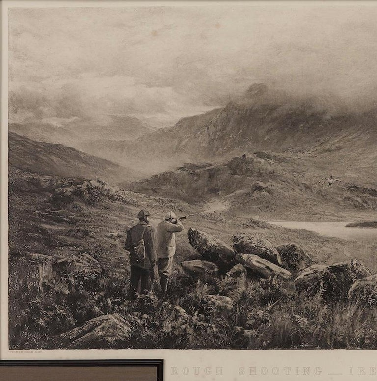 This is a first edition print of Rough Shooting, signed by the artist, Douglas Adams. The print was published by Thomas McLean and depicts a highlands shooting scene. A group of hunters are huddled together in the foreground of the print, with one
