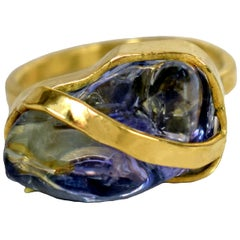 Rough Tanzanite 22 Karat Gold Ribbon Cocktail Ring