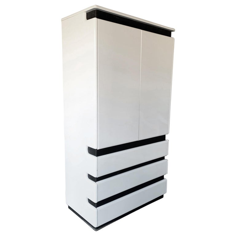 Rougier High Gloss Lacquered Post Modern Highboy For Sale