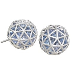 Roule and Co. Loose Blue Sapphire White Gold Large Shaker Stud Earrings
