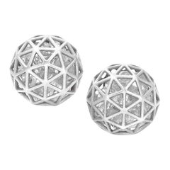 Roule and Co. Loose Shimmering White Sapphire White Gold Shaker Stud Earrings
