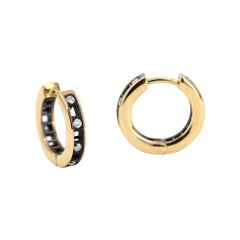 Roule and Co. White Diamond Yellow + Black Gold Pixel Dust Hoop Earrings