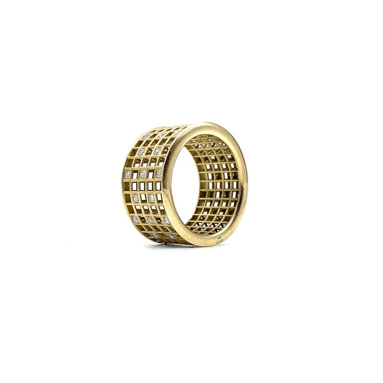 Round Cut Roule and Co. White Diamond Yellow Gold Five-Row Open Pixel Dust Band Ring For Sale