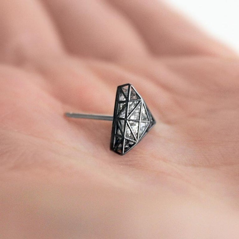 Artist Roule & Co. Loose White Topaz Black Gold Triangle Stud Earrings For Sale