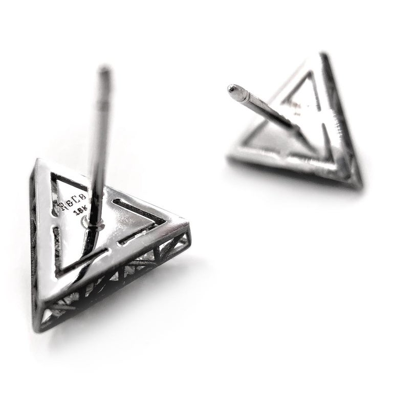 Round Cut Roule & Co. Loose White Topaz Black Gold Triangle Stud Earrings For Sale