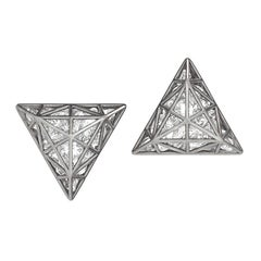 Roule & Co. Loose White Topaz Black Gold Triangle Stud Earrings