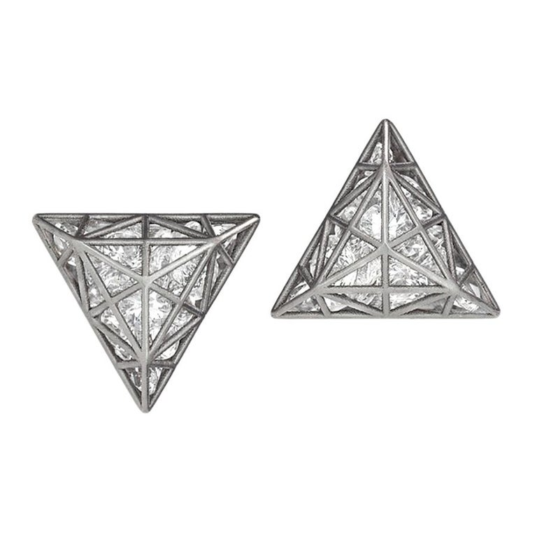 Roule & Co. Loose White Topaz Black Gold Triangle Stud Earrings For Sale