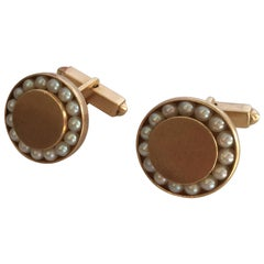 Round 14-Karat Pearl Cufflinks with Bullet Back Clasp and Lapel Pin
