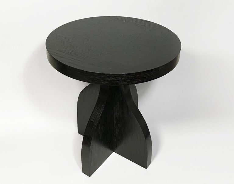 Modern Round Ebonized Oak Side Table by Bronsin Ablon For Sale